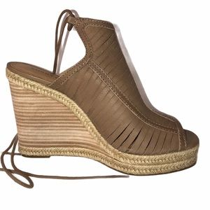 Lucky Brand Multi Strappy Open Heel Wedges 8.5
